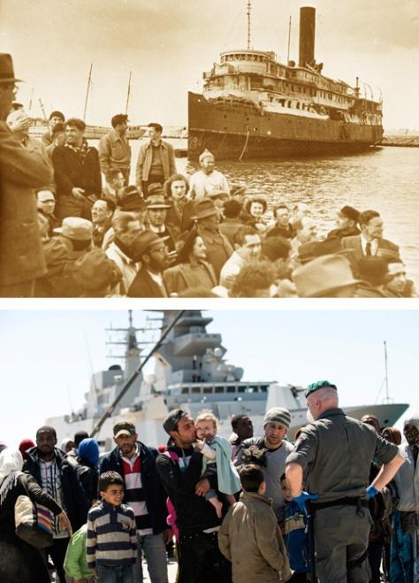 فوق: من اوروروبا إلى فلسطين المحتلة-1948.... تحت من سوريا إلى أوروبا-2016